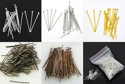 100 Head Pins 30mm x 0.7mm 21 Gauge - Silver Gold Copper Bronze