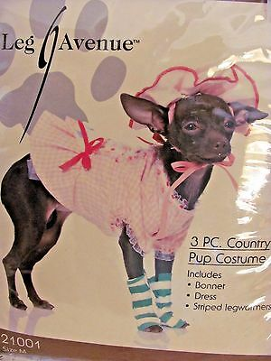 Leg Avenue Dog Pet Halloween Country Pup Costume Dress Leg Warmers Bonnet M