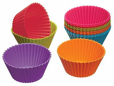 12 x 45mm Assorted Colour Mini Cake Moulds Cupcake Baking Easy Clean Decoration
