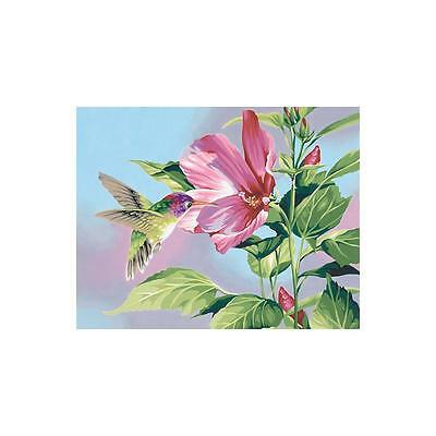 PAINTWORKS Paint by Number Kit HIBISCUS HUMMINGBIRD 14 x 11 inches Dimensions