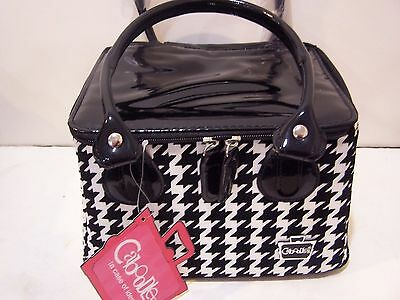 Caboodles Tapered Tote Sassy Makeup Cosmetic Bag (Black White Large Houndstooth)