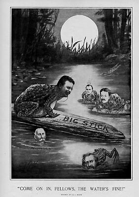Theodore Roosevelt As A Bullfrog Sitting On His Big Stick In The Swamp Water