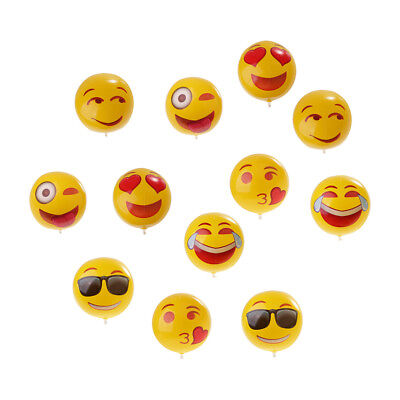 12PCS Emoji Face Inflatable Beach Balls Outdoor Sports Water Fun Toy Yellow