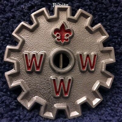 BSA OA Lodge 13 Wiatava Cog Belt Buckle red letters -round with lodge totem- LEC