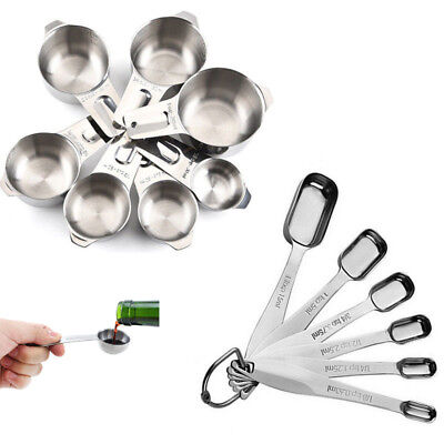 New Measuring Cups & Spoons Set 304 Stainless Steel Kitchen Cooking Baking Tools