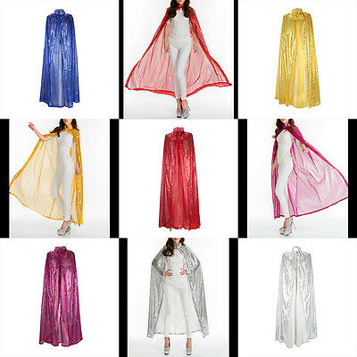 Halloween Cloak Full Length Coloured Sequin Goddess Cape Wedding Robe Coat Shawl