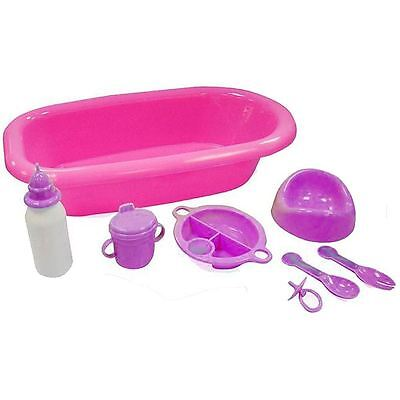 Baby Doll Bathing And Feeding Set - With Bath, Milk Bottle, Cup, Potty, Dummy