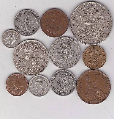 1937 Set Of 11 Coins In Very Fine Or Better Condition