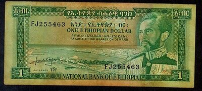 National Bank of Ethiopia , banknote 1 One $1 DOLLAR, 1966 YEAR