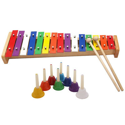 Set of 8-note Chromatic Handbells + 15-notes Xylophone for Kids Musical Toys