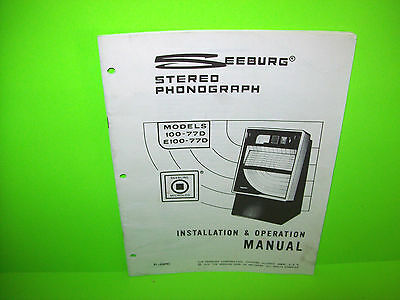 Seeburg 100-77D E100-77D Original 1976 Jukebox Phonograph Music Service Manual