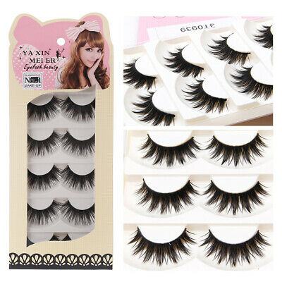 5 Pairs Soft Black Long Makeup Natural Thick False Eyelashes Eye Lashes Handmade