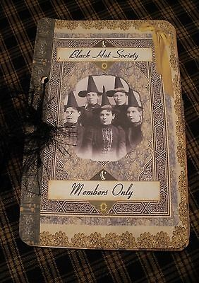 Handmade Altered Art Witch Sisters Black Hat Society Mini Journaling Tag Booklet