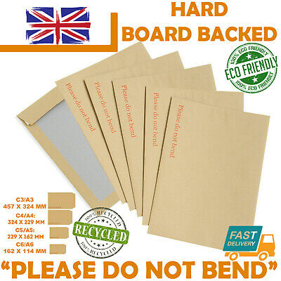 New Hard Card Board Back Backed 'please Do Not Bend' Envelopes Manilla Brown