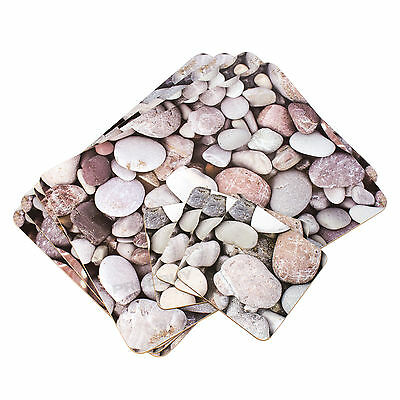 Set of Placemats & Coasters Dining Table Place Settings Mats Nautical Pebbles