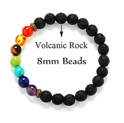 7 Chakra Healing Balance Beaded Lava Bracelet Natural Stone Yoga Reiki Prayer