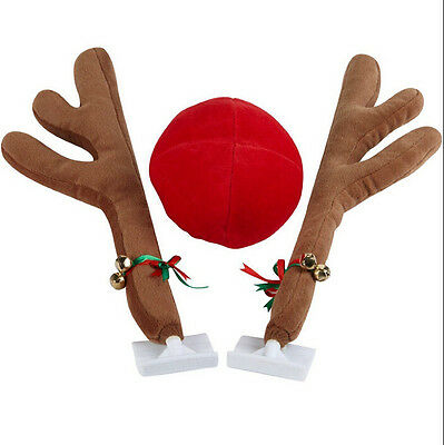 Car Reindeer Antlers Bells & Red Rudolph Nose Christmas Festive Decoration Set