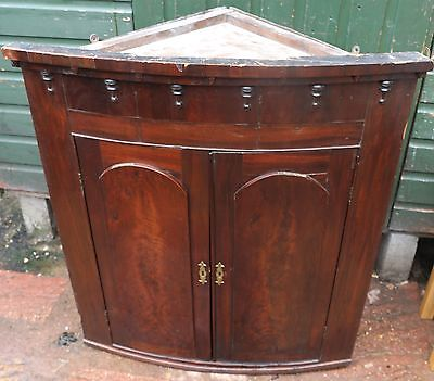 Great Looking Very Old Double Door Bow Fronted Corner Cabinet Has Key