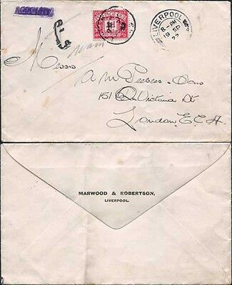 KGV 1922 1d Post Due on cover
