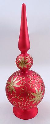 "Large 16"" Inge Glas Glass Red Satin Tree Topper Spire Spindle Table Decoration"