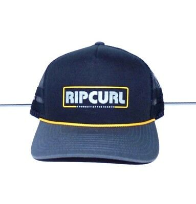 NEW RIP CURL Men s BIG RIG TRUCKER BLACK SNAP BACK CAP HAT 1size Adjustable  Z462 9b7cc50c64f9