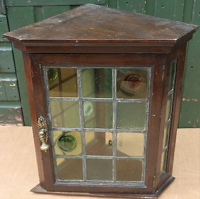 Small Unusual Old Wall Cupboard With Leaded Glass Door & Sides To Tidy Up