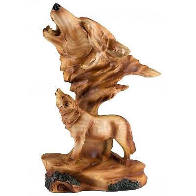 """Wolf Head Bust Carved Wood Look Figurine Resin 7.25"""" High New In Box!"""