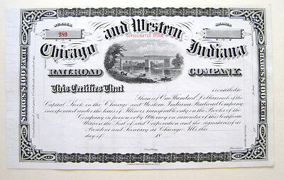 Chicago & Western Indiana RR Stock 1880s