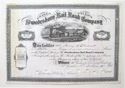 Swedesboro Railroad Stock Certificate 1883