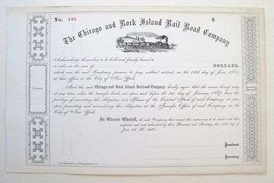 Chicago & Rock Island Railroad Bond Cert 1866