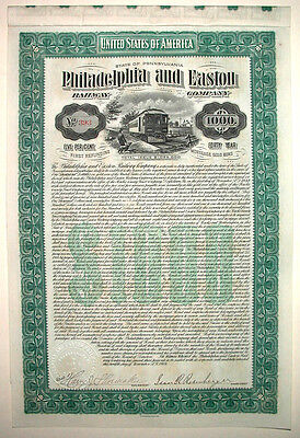 Philadelphia & Easton Railroad $1000 Bond 1904