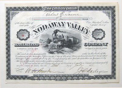Nodaway Valley Missouri Railroad Stock Cert 1888