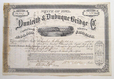 Dunleith & Dubuque Bridge Railroad Stock issued 1873