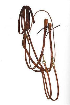 All Harness Leather German Martingale - Brass - 8 ft. Split Reins