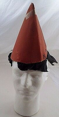 Prim 1930s Orange Crepe Paper Witch Hat w/ Black Hair Masquerade Halloween Party