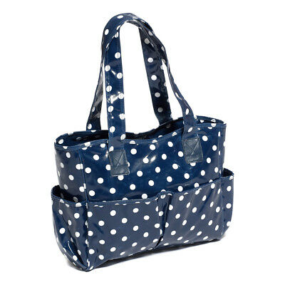 Hobby Gift MRB/32 White Polka Dot Print Navy PVC Craft/Sewing Bag 12.5x39x35cm