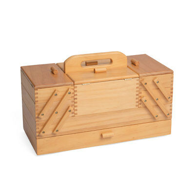 NEW HobbyGift GB9590 Vintage Wood Cantilever Sewing Storage Box 23½ x 45 x 32cm
