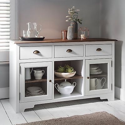 Sideboard Canterbury in White and Dark Pine 3 Drawer