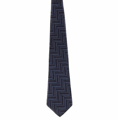 "Cocktail Collection Men's 100% Silk Zigzags Neck Tie Gray Blue 3 7/8"" x 58 1/2"""