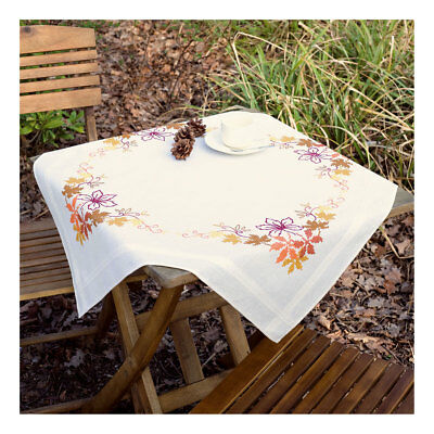 Embroidery Kit Tablecloth Leaves Design Stitched on Cotton Fabric Size 80 x 80cm