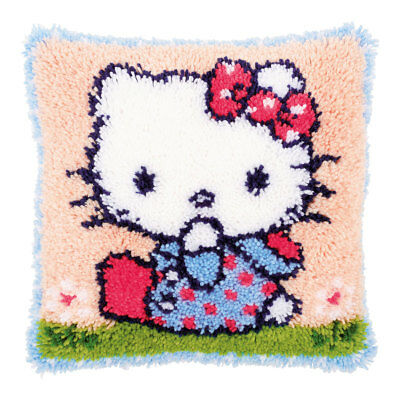 Cross Stitch Cushion Hello Kitty on the Grass Design Large Hole Canvas|40x40cm