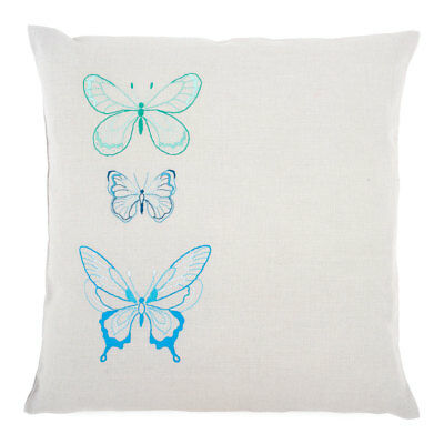 Vervaco Embroidery Kit Cushion   Blue Butterflies on Grey Cotton   40 x 40cm