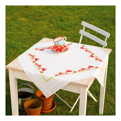 Embroidery Kit Tablecloth Toadstools Design Stitched on Cotton Fabric  80 x 80cm