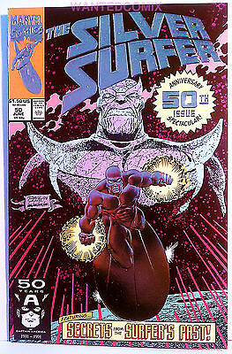 Silver Surfer #50 Foil Variant Cover Thanos Infinity Gauntlet Marvel Comic Hot 1