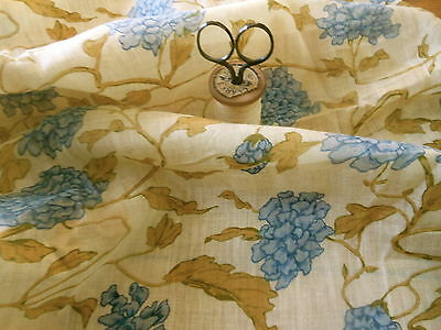 Antique French 19thc Hydrangea Vining Floral Cotton Voile Fabric ~Blue Olive