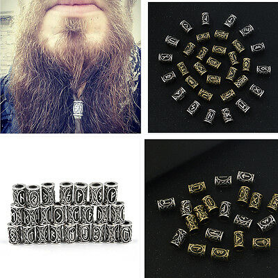 24pcs Different Kinds of Viking Rune Beads For DIY Jewelry or Hair Beard