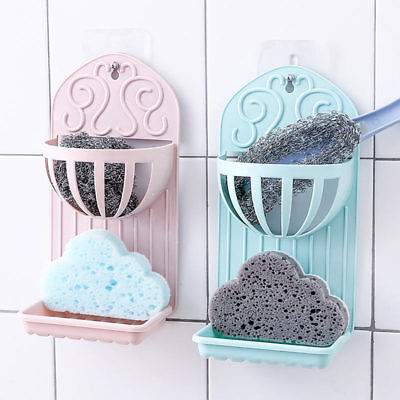 1Pc 2 Layers Suction Cup Soap Boxes Wall-Mounted Soap Dishes Holder Rack Kitchen