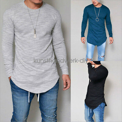 Fashion Men's Slim Fit V Neck Long Sleeve Muscle T-shirt Casual Tops Blouse GIFT