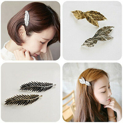 Women Hairpin Leaf Hair Clip Feather Hair Pin Jewelry Accessories EFC