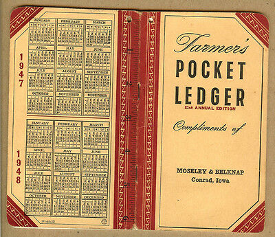 1947-48 Moseley & Belknap John Deere, Conrad, Iowa IA, JD Farmers Pocket Ledger